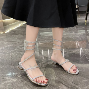 Spiral Glittery Shiny Party Wear Sandals - Silver