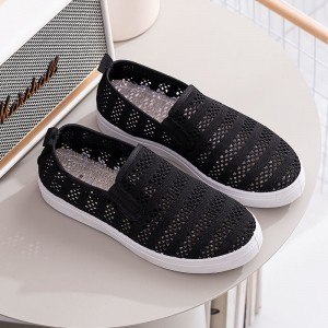 Hollow Breathable Flat Wear Shoes - Black