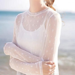 Thin Fabric See Through Full Sleeves Summer Top - White