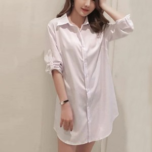 Button Closure Full Sleeves Solid Color Shirt - White