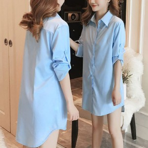 Button Closure Full Sleeves Solid Color Shirt - Blue