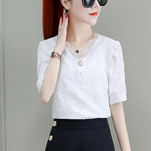 Lace Patched V Neck Summer Blouse Top - White