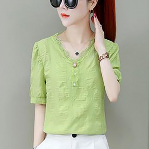 Lace Patched V Neck Summer Blouse Top - Green