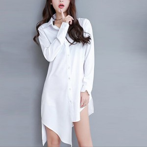 Irregular Button Closure Shirt Collar Dress - White