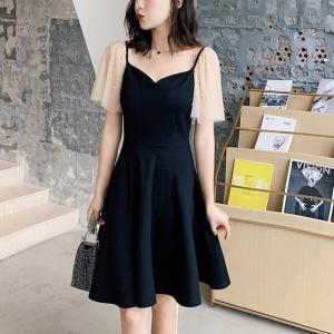 A-Line Sweet Heart Neck Mini Dress - Black