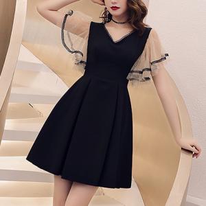 V Neck A-Line Contrast Mini Dress - Black