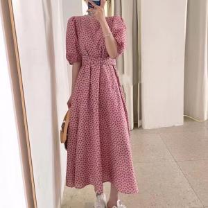 O Neck Half Neck Midi Dress - Pink