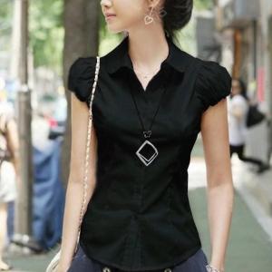 Solid Color Button Closure Summer Blouse Top - Black