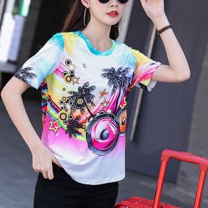 Digital Print Round Neck Summer Prints T-Shirt - Multicolor