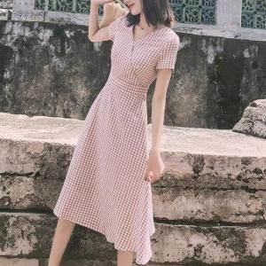 Wrapped V Neck Geometric Printed Midi Dress - Pink