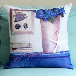 Vintage Style Graphic Print Home Living Office Sofa Pillow Cover - Light Blue