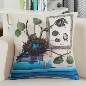 Vintage Style Graphic Print Home Living Office Sofa Pillow Cover - Blue