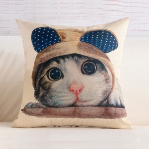 Cute Cat Print Home Living Office Sofa Pillow Cover - Multicolor