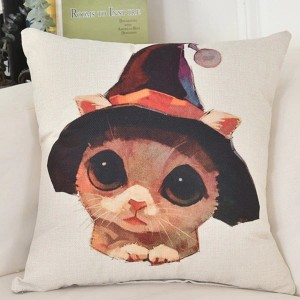 Cute Cat Print Home Living Office Sofa Pillow Cover - Black Brown
