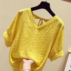 V Neck Back Knotted Solid Color Summer Top - Yellow