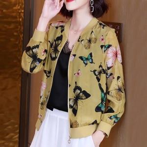 Zipper Closure Butterfly Printed Elegant Cardigan Jacket - Yellow