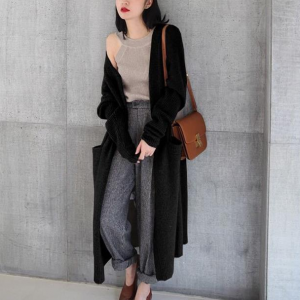 Thin Fabric Full Sleeves Solid Color Long Cardigan - Black