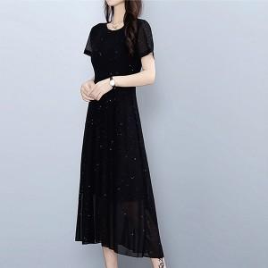 Round Neck Thin Fabric Maxi Style Dress - Black