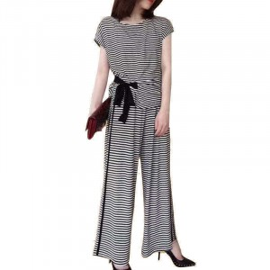 Round Neck Stripes Printed Two Pieces Suit - Black and White