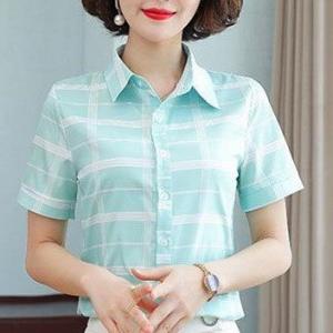 Button Closure Geometric Print Summer Shirt - Green