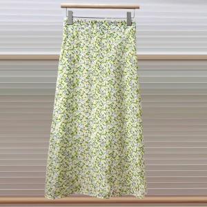 Thin Floral Printed Fashion Skirt - Yellow