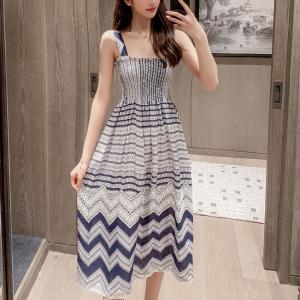 Geometric Print A-Line Midi Dress - Multicolor