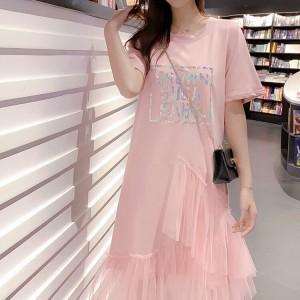Alphabetic Print Ruffled Hem Round Neck Midi Dress - Pink