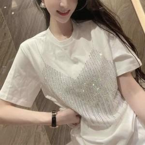 Sequins Decorative Round Neck Solid Color Blouse Top - White