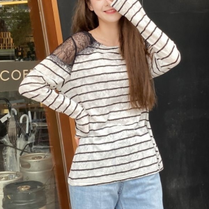 Lace Patched Stripes Print Full Sleeves Top - White