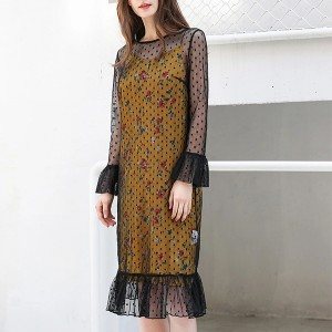 Out Layered Polka Dotted Thin Fabric Elegant Dress