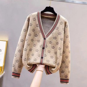 Printed Button Up Full Sleeves Jacket Sweater - Khaki