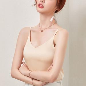 Camisole Plain Solid Color Women Blouse Top - Apricot