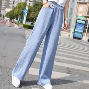 Elastic Waist Thin Fabric Casual Wear Trouser - Blue