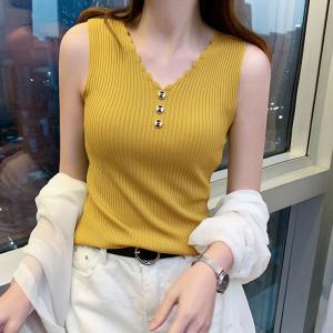 Wavy V Neck Ribbed Summer Wear Top - Yellow