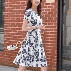 Printed Floral A-Line Mini Dress - White
