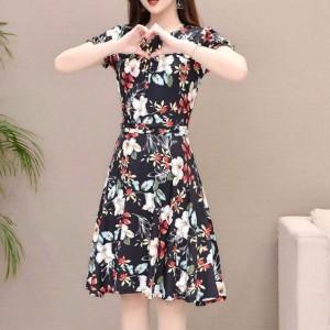 Printed Floral Colorful A-Line Mini Dress - Black