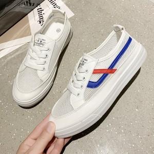 Lace Closure Rubber Sole Sneakers - Blue