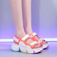Velcro Closure Thick Rubber Sole Casual Slippers - Orange