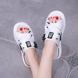Buckle Patched Canvas Rubber Sole Slippers - White