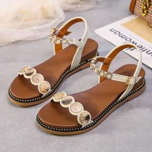 Sequins Patched Buckle Closure Flat Party Sandals - Beige