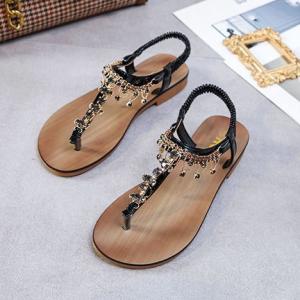Sequins Decorative Flat Wear Flip Flop Boho Sandals - Black