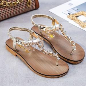 Sequins Decorative Flat Wear Flip Flop Boho Sandals - Golden