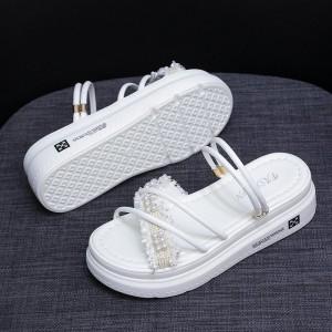 Thick Sole Decorative Slip Over Casual Sandals - White