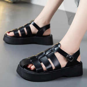 Cage Style Synthetic Leather Buckle Closure Sandals - Black