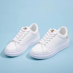 Lace Closure Rubber Soft Sole Sneakers - White