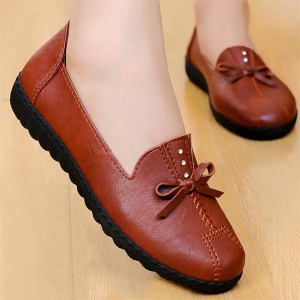 Synthetic Leather Wavy Plastic Sole Bow Patch Shoes - Brown