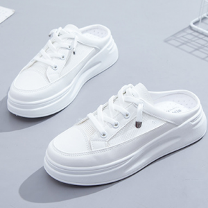 Lace Closure Thick Rubber Sole Mule Sneakers - White