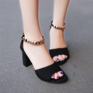 Open Toe Party Wear Fancy Sandals - Black