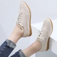 Synthetic Leather Plain Lace Closure Shoes - Beige