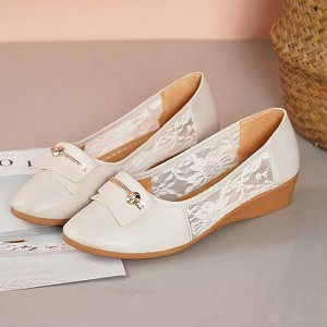 Lace Patched Slip Over Flat Wear Party Shoes - Beige